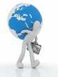 3D man with a suitcase is a globe on his back