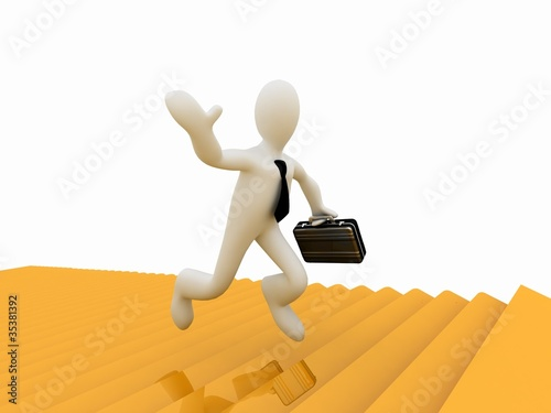 3d businessman running along the golden forest to Success