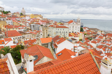 over the red roofs of Lisboa, Portugal