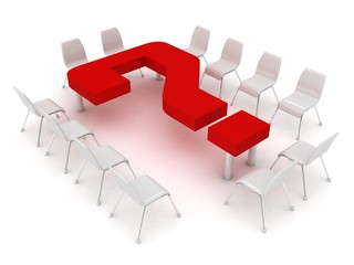 conference table in the form of a question mark and chairs