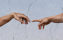 "Постер, картина, фотообои ""Michelangelo: die Erschaffung Adams"""