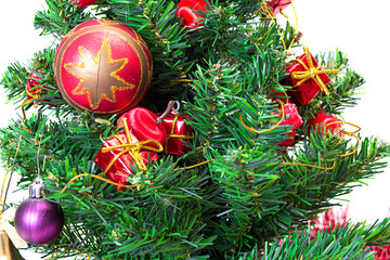 Colorful Christmas Decorations on a Tree Isolated on a White Bac