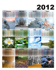 Calendar with photos seasons