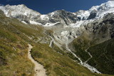 high altitude footpath in Suisse Alps poster
