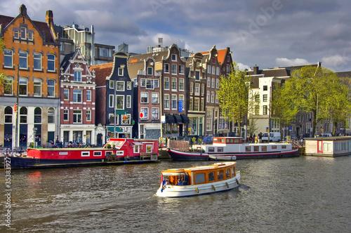 Classical Amsterdam view.  Urban scene.