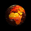 Planet Earth showing Europe and Africa with Global Warming again