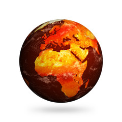 Isolated Planet Earth showing Europe and Africa with Global Warm