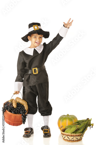 Waving Young Pilgrim