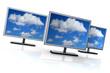 Monitore mit Wolken