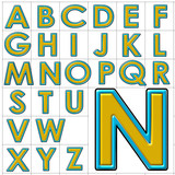 abc alphabet background college halo design poster