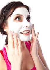 Portrait of young sexy woman making mask