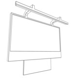 linear black and white illustration of billboard on white poster