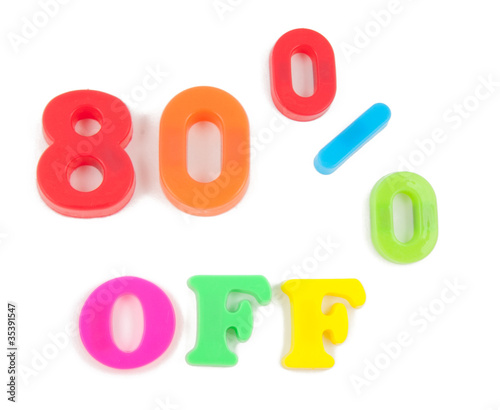 80% off written in fridge magnets