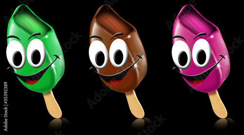Cartoon colored ice creams with smile