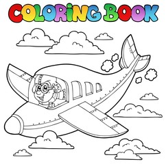 Coloring book with cartoon aviator