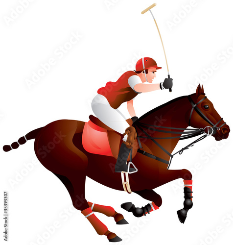 Polo horse and player