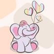 elephant & Balloons Girl