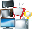different types of television set in a pile