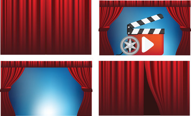 cinema or theatre cutains opened and closed