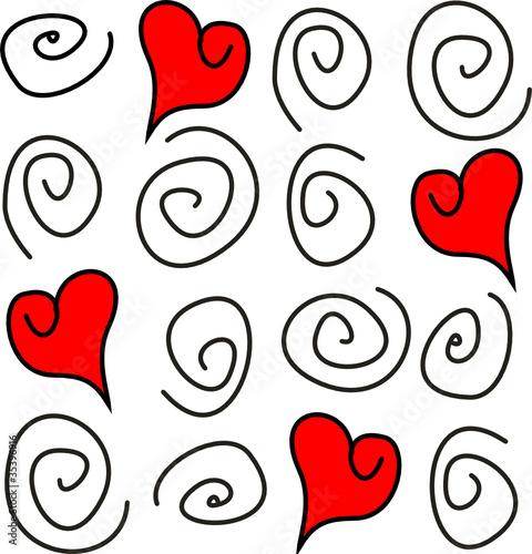 Cuori rossi pieni e spirali nere linee immagini e for Immagini di cuori rossi