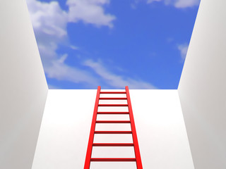 Ladder leading up to the sky