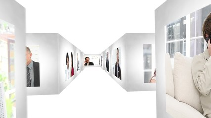 Woman opening the doors of an animated corridors