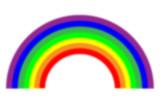 Fuzzy rainbow on white poster