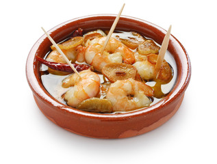 gambas al ajillo , garlic prawns , spanish tapas