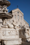 The fountain of Orione and the cathedral of Messina