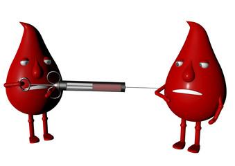 Blutmännchen spritzen sich