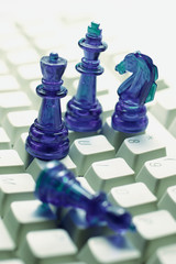 Chess  Pieces on Computer Keyboard