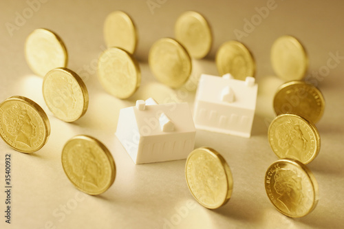 Miniature Houses and Coins