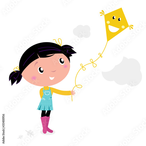 Little cute kid flying kite isolated on white.
