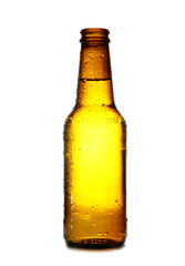 Nice lit on a beer bottle isolated in a white background