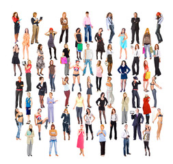 Isolated Multitude Business Men and Women
