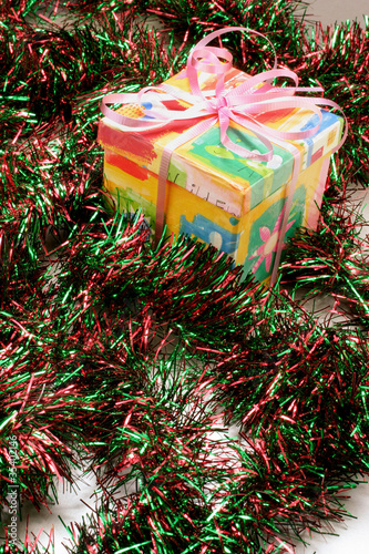 Gift Box and Tinsel