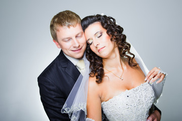 Happy just married bride and groom