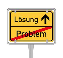 lösung  - problem, ortschild
