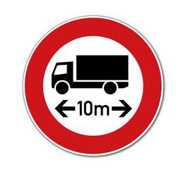 Verbot für KFZ über 10 m einschl. Ladung