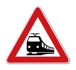 unbeschrankter Bahnübergang, Verkehrsschild
