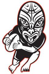 Rugby player running wearing Maori mask