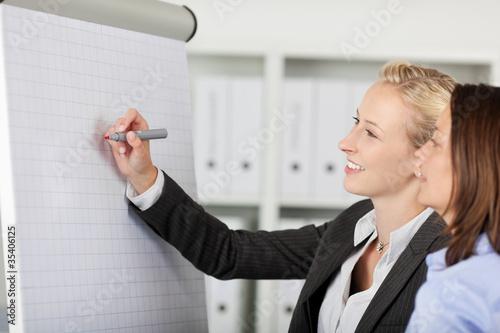 zwei frauen schreiben etwas am flipchart