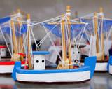 Handcraft boats typical Balearic Majorca souvenir poster