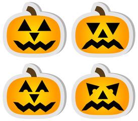 Set of 4 Halloween Jack O'Lantern Stickers