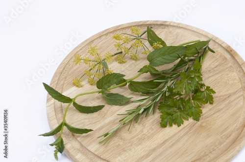Herbs on a cutting board