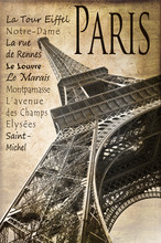 Parijs, de Eiffeltoren, vintage sepia