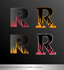 eps Vector image: initials (r)  metallic fire logo Ⅲ&Ⅳ