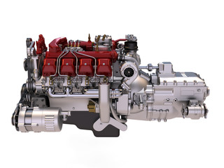 diesel engine on white background