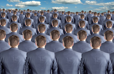 Rear view of many businessmen