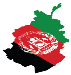 Isometric map of Afghanistan as national flag